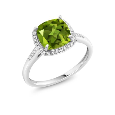 10K White Gold 2.45 Ct Cushion Cut Green Peridot White Diamond Solitaire Ring (Rings Green Stone)