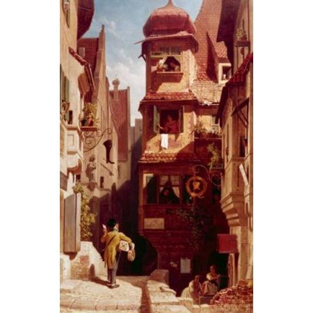 The Mailman in Rosenthal by Carl Spitzweg 1808-1885 Canvas Art - Carl Spitzweg (18 x 24)