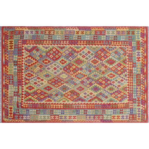Loon Peak One-of-a-Kind Vallejo Kilim Geometric Hand-Woven Rectangle Red Area Rug