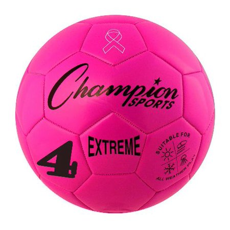 Champion Sports Extreme Soft Touch Butyl Bladder Soccer Game Ball, Size 4, Pink (Pink Soccer Ball)
