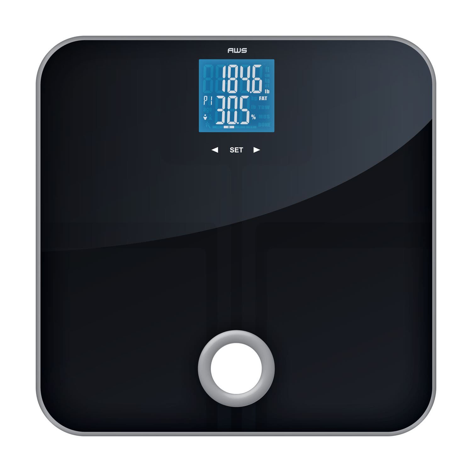 Exceptionnel American Weigh Scales MSL 180 Mercury SL Black Glass Top Bathroom Scale