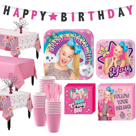 JoJo Siwa Basic Party Kit for 24 Guests, Includes Table Covers and Banner for $<!---->