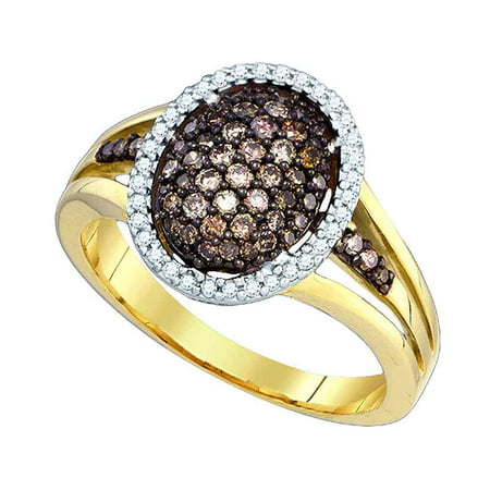 10kt Yellow Gold Womens Round Cognac-brown Colored Diamond Oval Cluster Ring 1/2 Cttw