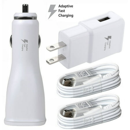 For LG X Venture Phones OEM Fast Charger Combo [1 x USB Wall + 1 x USB Car Charger + 2 x Micro USB Cable] - 50% Faster Charging! - White