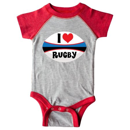 I Love Rugby sports ball Infant Creeper