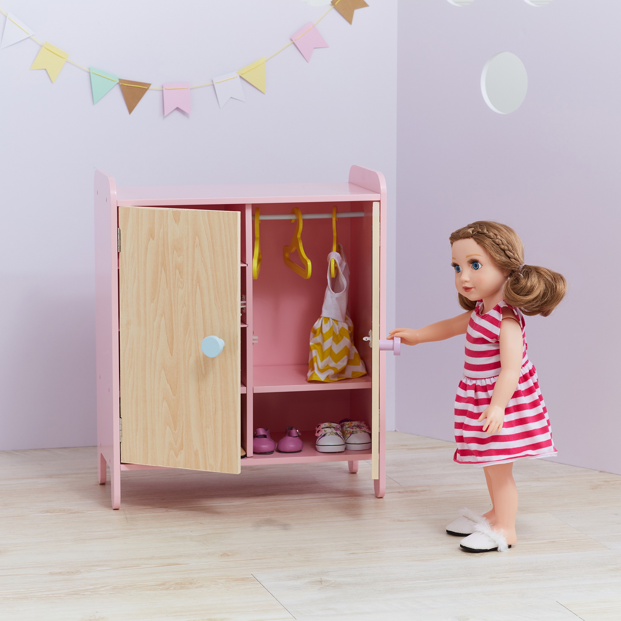 Olivia's Little World - Modern Nordic Princess Doll Fancy Closet with Mirror
