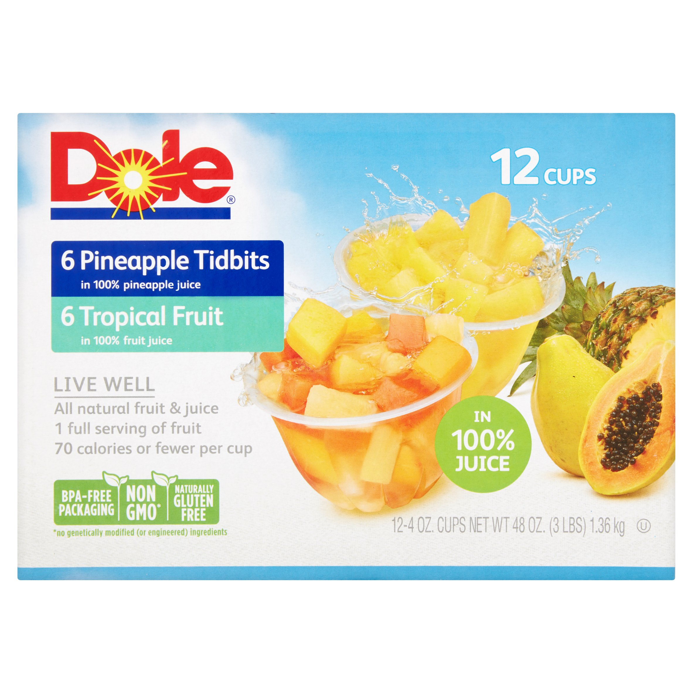 Dole�� Tropical Fruit and Pineapple Tidbits in 100% Fruit Juice 12-4 oz. Cups