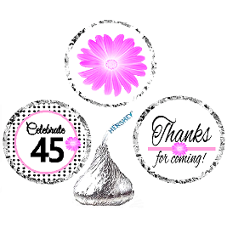 CakeSupplyShop Item#045BPH 45th Birthday / AnniversaryPink Black Polka Dot Party Favor Hershey Kisses Candy Stickers / Labels - Polka Dot Party Favors