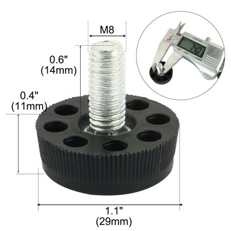 Household Round Base Adjustable Furniture Leg Nonslip Leveling Foot Black 10pcs - image 2 de 3