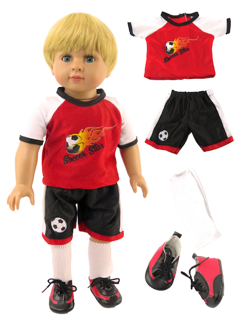 "Red Soccer Outfit for 18"" Dolls by"