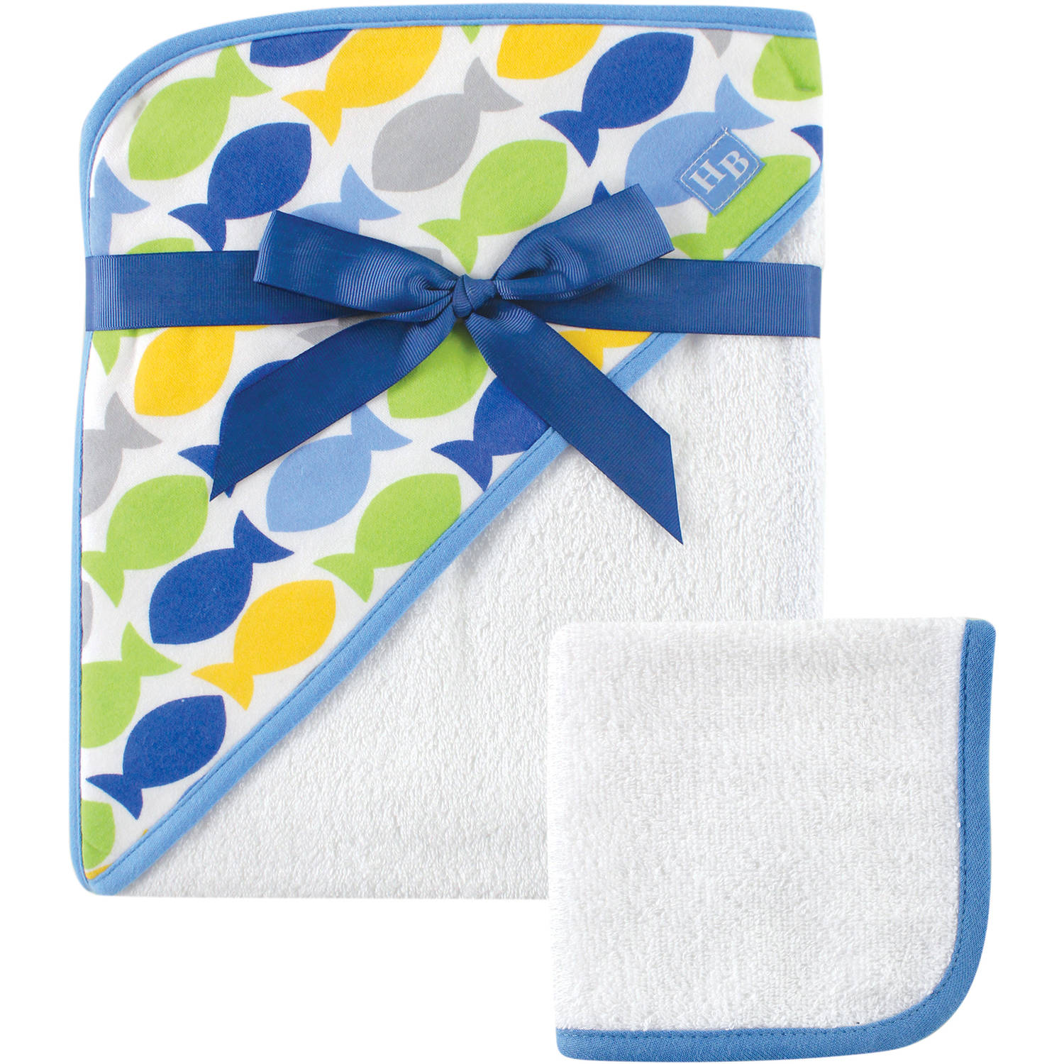 Hudson Baby Woven Hooded Towel with Washcloth, Blue Gray