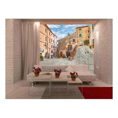 wall26 - Beautiful Corner of The Old Italian Town - Removable Wall Mural | Self-Adhesive Large Wallpaper - 66x96 inches