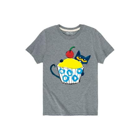 Cupcake Short Sleeve Shirt (Pete The Cat With Big Cupcake  - Toddler Short Sleeve Tee)