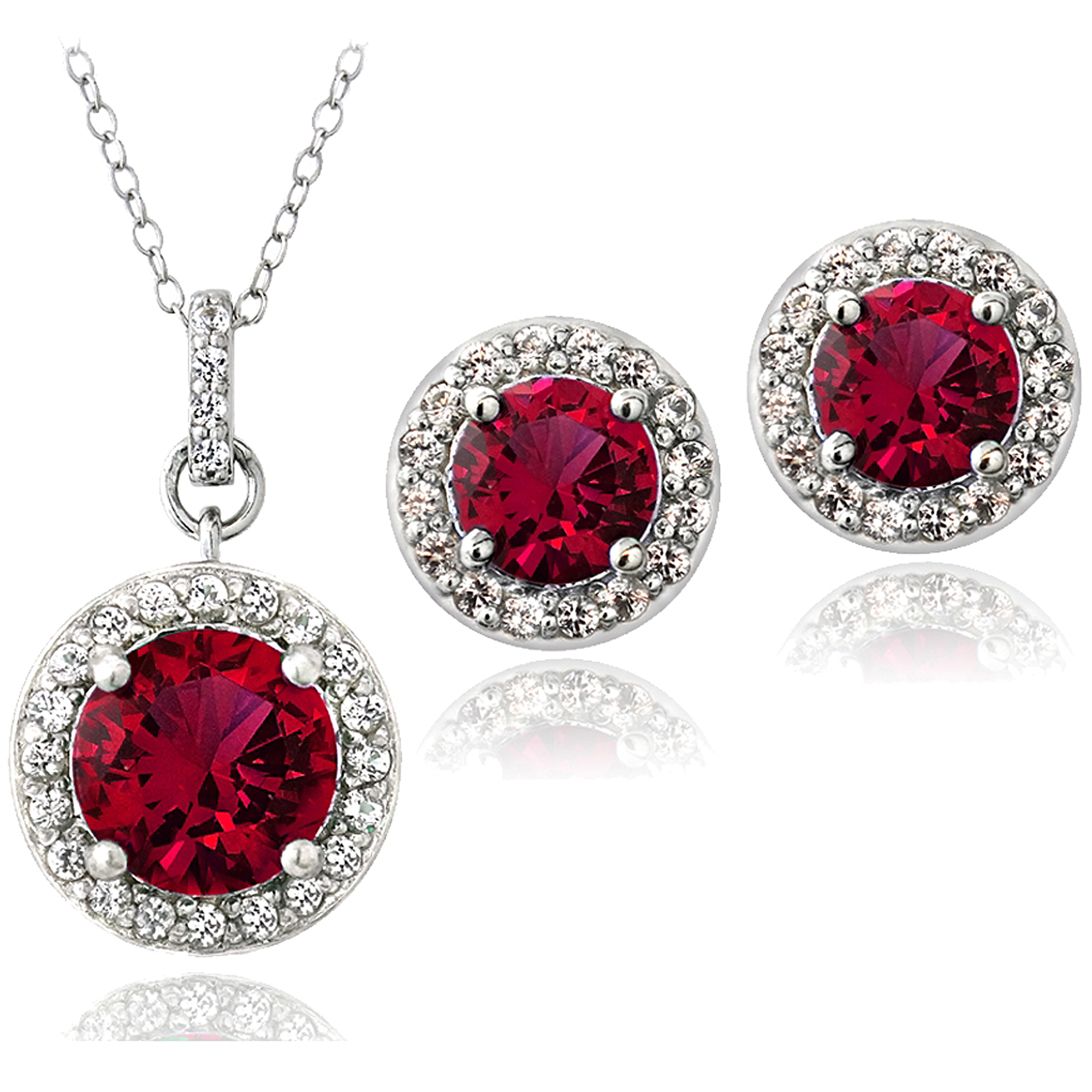 5.25 Carat T.G.W. Created Ruby and Created White Sapphire Sterling Silver Round Stud Earrings and Necklace Set