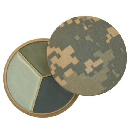 (US Military Army USMC Marines ACU Digital Camo Airsoft Tactical Hunting 3 Color Desert Sand Urban Gray Foliage Green Face Paint Compact with Mirror, By Leading)