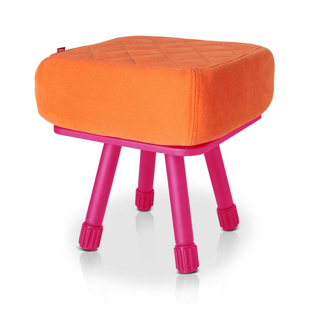 Krukski Stool in Orange with Pink Tablitski Cushion