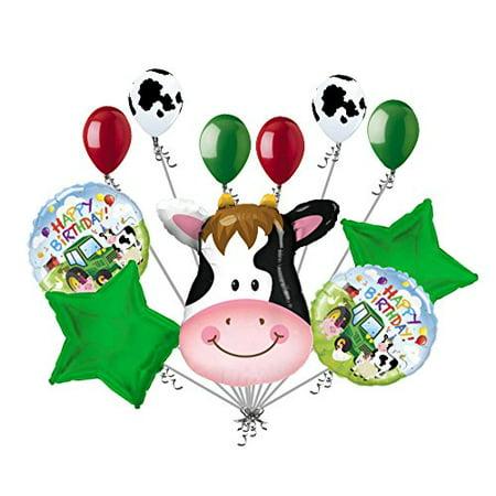 11 pc Content Cow Farm Animal Happy Birthday Balloon Bouquet Decoration Barn