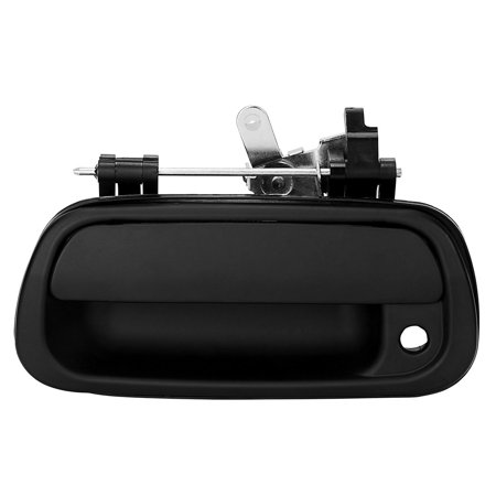 Tailgate Handle Compatible for 2000-2006 Toyota Tundra, Rear Exterior Black Smooth Tailgate Door Handle with Keyhole Replacement Part Numbers: 690900C010