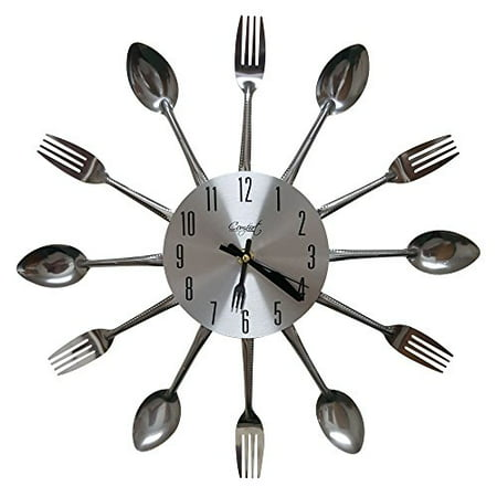 Comfort Home Cutlery Kitchen Spoon & Fork Decorative Wall Clock, Sliver ()