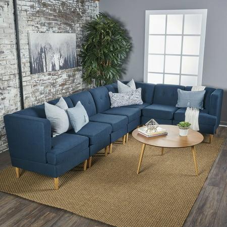 Fantastic Noble House Brylee Mid Century Modern Fabric 7 Piece Sectional Sofa Set Navy Blue Inzonedesignstudio Interior Chair Design Inzonedesignstudiocom