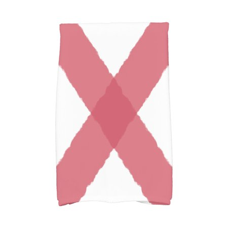 Simply Daisy, 16 x 25 Inch, X Marks the Spot, Geometric Print Kitchen Towel, Red