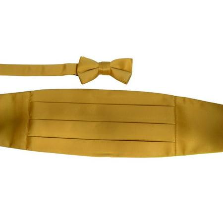 Boys Gold Cummerbund Bow-tie Special Occasion Accessories Set