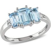 1-1/2 Carat T.G.W. Blue Topaz and Diamond-Accent 10kt White Gold Three-Stone Ring
