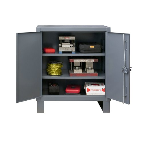 Durham Manufacturing 42'' H x 36'' W x 24'' D Heavy Duty Recessed Door Style Lockable Storage Cabinet