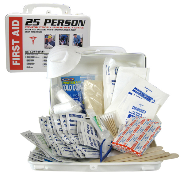 25 Person First Aid Kit Home Auto Business Safety Bandages Gauze Wipes & More