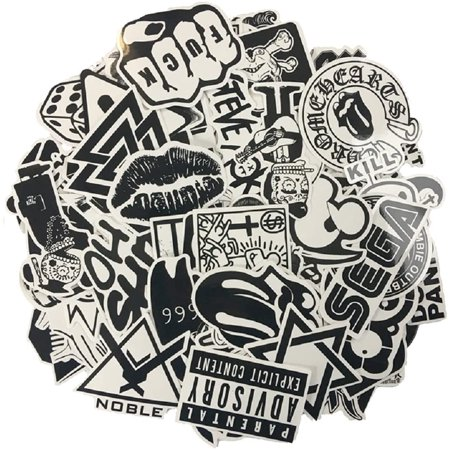 120PCS Black White Vinyl Sticker Graffiti Decal Perfect to Laptops, Skateboards, Luggage, Cars, Bumpers, Bikes, - image 1 of 6