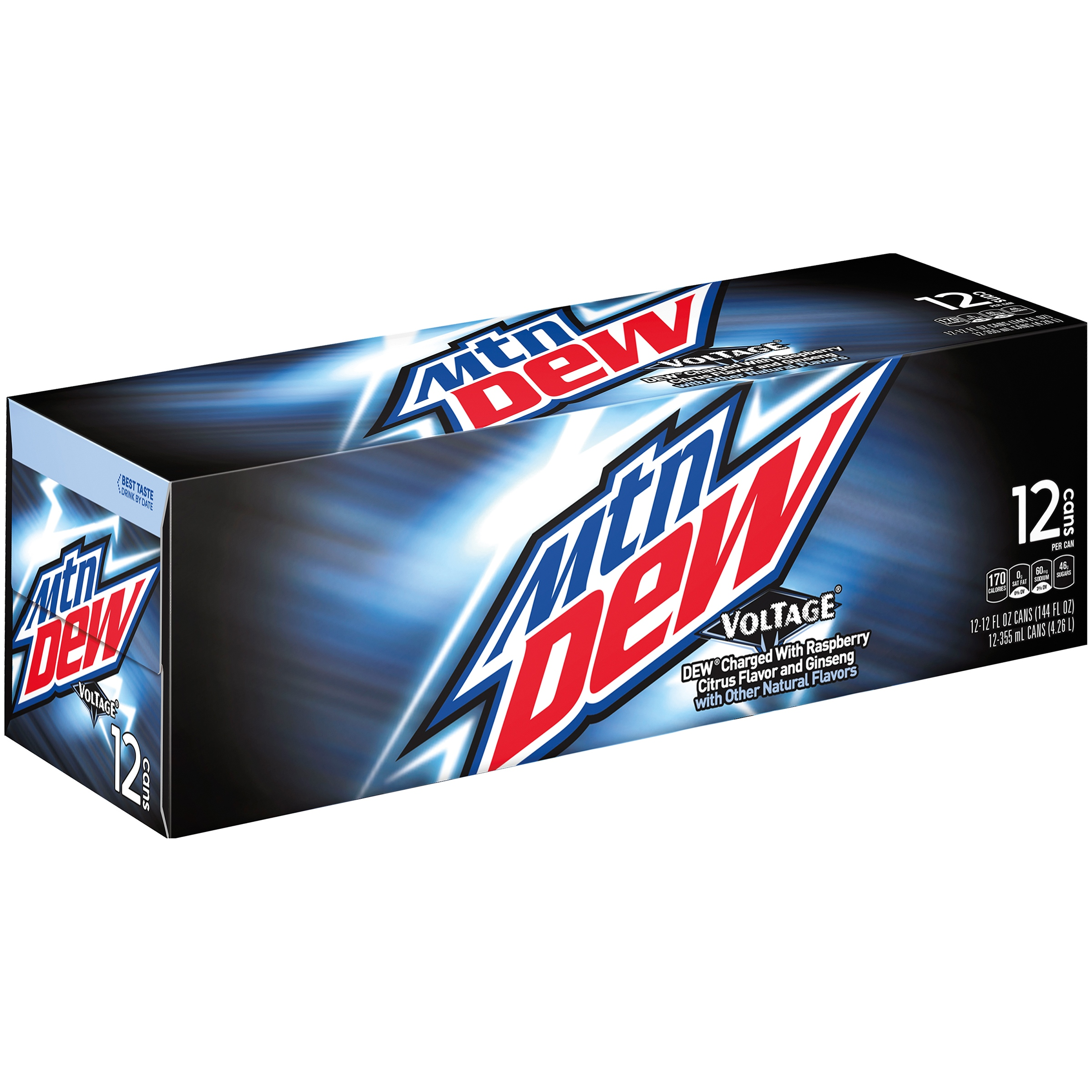 Mountain Dew Voltage Soda, Raspberry Citrus And Ginseng, 12 Fl Oz, 12 Count