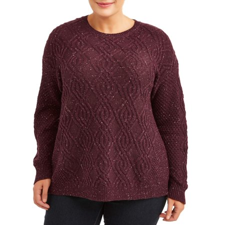 Terra & Sky Plus Size Crewneck Cable Sweater Women's Plus Size Maternity Sweaters