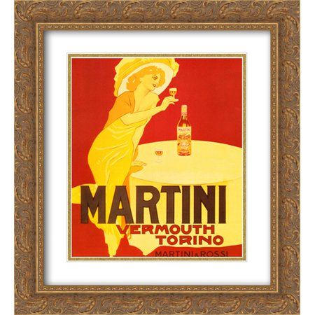 Martini & Rossi Vermouth Torino 2x Matted 15x18 Gold Ornate Framed Art