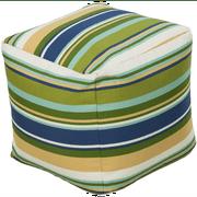 "18"" Bean Green and Dark Blue Striped Outdoor Patio Pouf Ottoman"