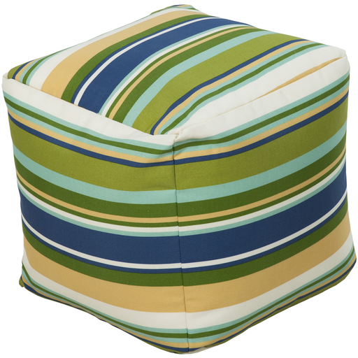 "18"" Bean Green and Dark Blue Striped Outdoor Patio Pouf Ottoman"