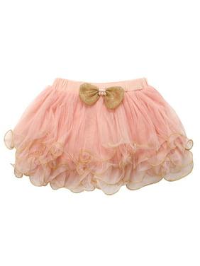 Richie House Little Girls Pink Gold Trim Bow Accent Tutu Skirt 4/5