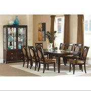 Montblanc Dining Table Set w 8 Chairs & Curio Cabinet in Merlot