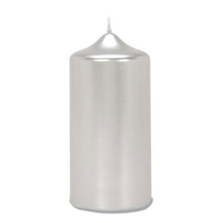 Pillar Candle Metallic Silver 3X6 In (Metallic Spiral Candles)
