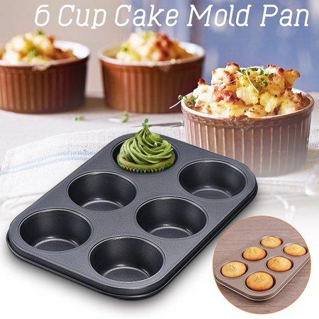 Cake Mold Carbon Steel Versatile Sturdy Bakeware Nonstick Pan Muffin Cupcake Tray Mould Baking Tool ,6 Cups ,(Package in Kraft Box) (Halloween Cupcake Recipes Kraft)