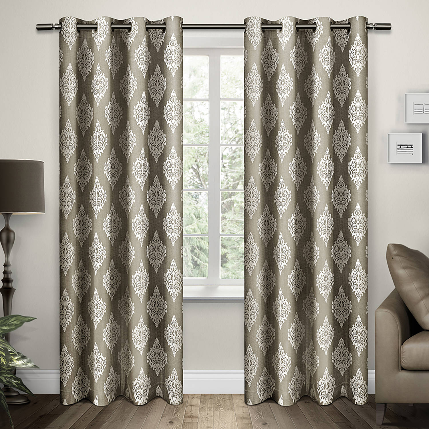 Exclusive Home Damask Taupe Grommet Top 54 x 84-inch Curtain Panel Pair