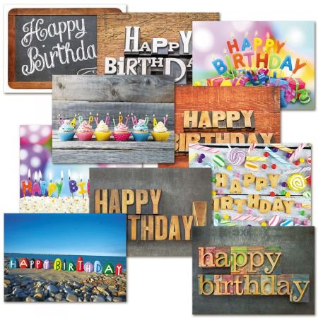 Playful Type Birthday Cards Value Pack - Set of 20 (Cards Gift Box Set)