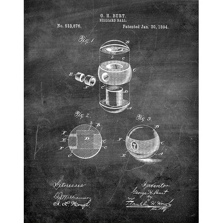 Original Billiard Ball Artwork Submitted In 1894 - Billiard - Patent Art