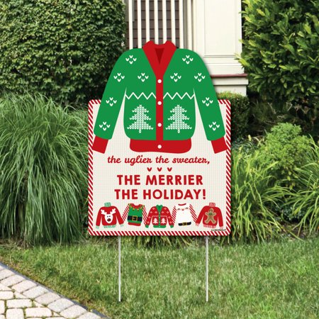 Ugly Christmas Decorations (Ugly Sweater - Party Decorations - Holiday & Christmas Welcome Yard)