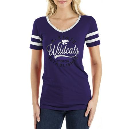 Women's New Era Purple Kansas State Wildcats Striped Sleeve V-Neck T-Shirt