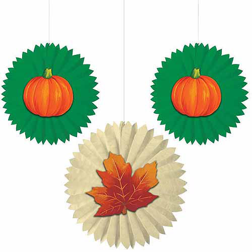 Leaves and Pumpkins Tissue Fans