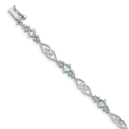 925 Sterling Silver Diamond Blue Aquamarine Bracelet 7 Inch Gemstone For Women