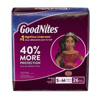 GoodNites Bedtime Bedwetting Underwear for Girls, Size S/M, 26 Count