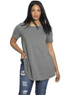 Roaman's Plus Size Swing Ultimate Tee With Keyhole Back T-Shirt