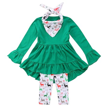 Christmas Baby Clothes Set Toddler Kids Girls Ruffles Irregular Mini Dress Tops+Long Pant Scarf Clothing Outfit Set (Toddler Christmas Clothing)