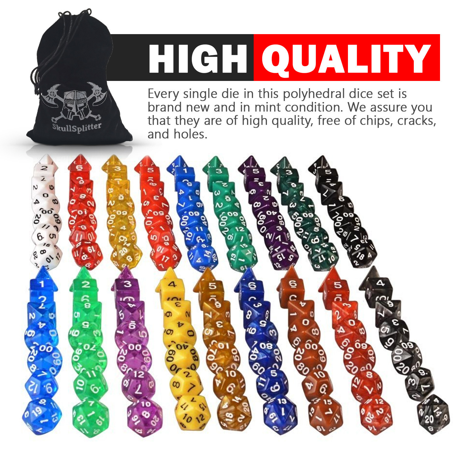 One Pound Bag- 126 Polyhedral RPG Dice- 18 Complete Sets- Velvet Pouch Included -
